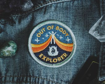 "Out of Body Explorer Patch - Metaphysical Fashion Accessory - 2"" Iron On Embroidered Patch - Lucid Dreaming Astral Projection"