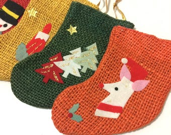 4 Vintage Christmas Stocking Ornaments