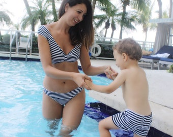 One piece swimsuit // mother and son swimsuit // mommy and me outfit // bathing suit // swimsuit for boy // swimsuit for baby // stripes