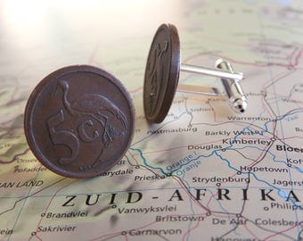 South Africa coin cufflinks -  made of original coins from South Africa - wanderlust - globetrotter - travel