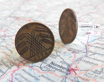 Germany vintage 1924/1925 coin cufflinks - made of vintage 5/10 pfennigs from Germany - pfennig - birth year - wedding gift