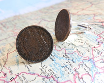 Spain 1944 vintage coin cufflinks - made of vintage coins from Spain - birth year - wedding gift - groom