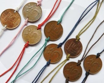 Netherlands colored penny coin bracelet 1970 - 1971 - 1972 - 1973 - 1974 - 1975 - 1976 - 1977 - 1978 - 1979 - 1980