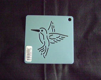 Sashiko Japanese Embroidery Stencil 3 in. Hummingbird Motif Block/Quilting