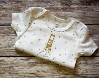 Mackinac Bridge Baby Bodysuit - Michigan Baby Girl- Up North Baby Bodysuit - Michigan Baby