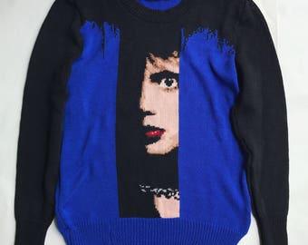 Blue velvet handmade sweater (S size)