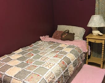 XL Twin Quilt   Blush Pink   Guest Room Quilt   College Dorm Decor   Floral