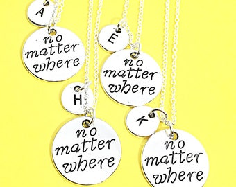 Set of 4 Best Friend Distance Necklaces, Distance Jewelry, Personalized necklace set of 4, Friendship Distance, Keepsake, BFF jewelry for 4