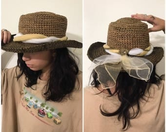 Vintage  Brimmed Brown Straw Hat Sunblock Hat Packable Hat Travel Hat Straw  Beach Hat Cow Girl Hat Women's Hat Music Festival Hat
