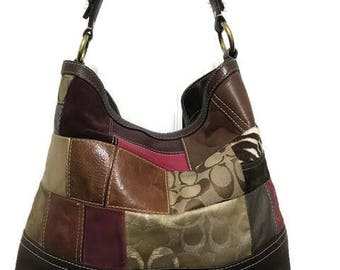 Beautiful authentic Coach Brown Leather Bag Patched Large Authentic Coach Bag Shoulder Bag Travel or Daily use Bag
