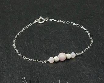 Kunzite and rose opal beads bracelet, sterling silver 925