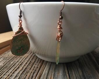 Bronze Teardrop Star Patina Earrings