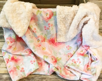 Baby Floral Blanket- Baby Girl- Minky Baby Blanket- Boho Baby Blanket- Floral Baby Bedding- Baby Shower Gift