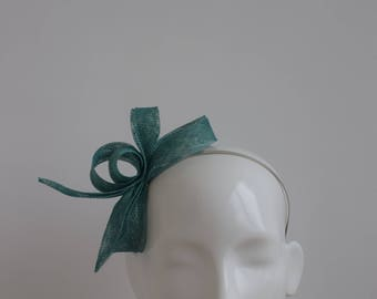 Jade Green Fascinator - Jade Green Headpiece -  Green Fascinator - Teal Green Headpiece - Simple Modern Fascinator - Teal Green Fascinator