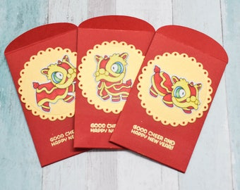 High Quality Lion Dance Lunar New Year Lucky Money Envelopes - Pack of 3