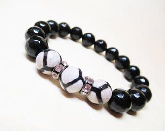 Gemstone Stretch Bracelet Black Onyx Bracelet Agate Bracelet Beaded Bracelet Mala Bracelet Healing Bracelet Mothers Gift Faceted Bracelet