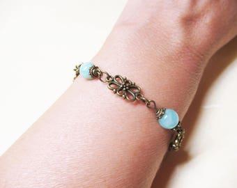 Amazonite Bracelet Vintage Bracelet Ethnic Bracelet Beaded Gemstone Bracelet Romantic Bracelet Crystal Bracelet Thyroid Jewelry Gift for Her