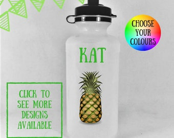 Pineapple water bottle, kids water bottles, sports bottle, sports water bottle, personalised kids water bottles, water bottle kids,