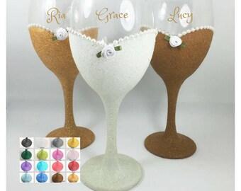 Wine glasses bridesmaid gifts wine glasses, bridesmaid wine glasses, maid of honor gift sister, rose gold wine glasses wedding, personalised