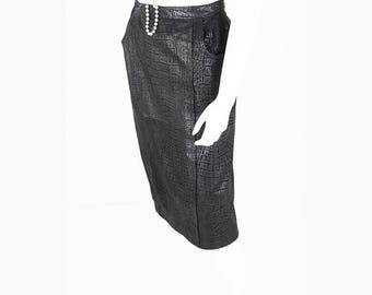 Vintage MIDI skirt made from leather in reptile finish
