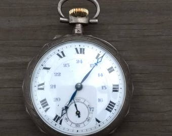 Swiss Pocket Watch-24 hour dial