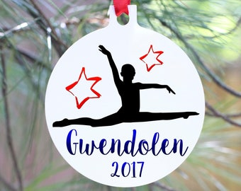 Gymnast Personalized Ornament, Gymnastics Coach Ornament, Personalized Gymnastics Christmas Ornament, Gymnastics Team Christmas Ornament