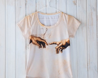 Unique unisex t-shirt, The Creation of Adam, by Michelangelo, gift for her gift for him gift idea