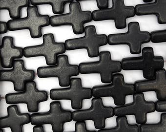 "16mm black turquoise cross beads 16"" strand 38633"