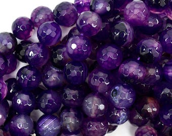 """12mm faceted agate round beads 14"""" strand purple 38876"""
