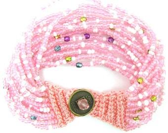 """Pink glass seed bead crochet bracelet 7"""" 11885"""