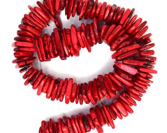 """14-22mm red turquoise chip nugget 16"""" strand 36753"""