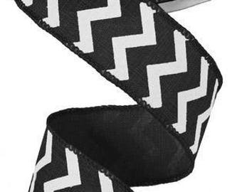 "1.5"" x 10yds- Black Chevron Wired Ribbon, black Ribbons, black chevron Ribbon, chevron ribbons, ribbons, halloween ribbon, chevron  #1"