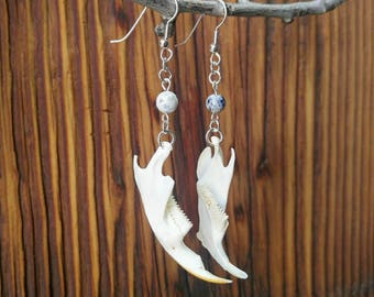 Muskrat Jaw Bone Earrings, Fish Hook, Blue & White Sodalite Bead, Vulture Culture, Taxidermy Jewelry, Animal Bone, Burning Man, Oddities