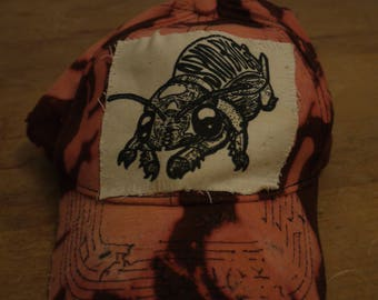 bleached acid wash tattered patched baseball cap- trucker hat, patches, punk, crust, distressed