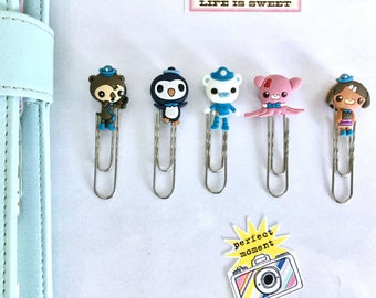 Set of 5 cute animals silver paper clips
