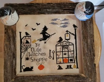 Pattern, Halloween Cross Stitch Pattern, Primitive Cross Stitch, Halloween, Witches Night,  Cross Stitch Pattern, Ye Olde Witches Shoppe