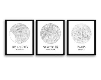 City Maps Set Print, Los Angeles Map Print, Travel Maps Instant Download Print, New York City Map Print, Paris France Map Print,