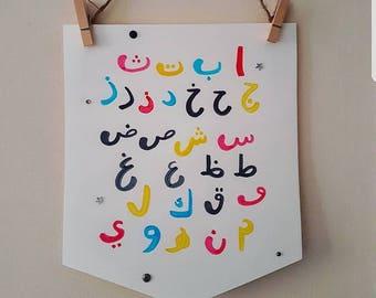 Arabic alphabet print. Wall hanging