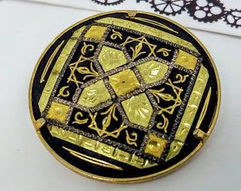 Vintage, Damascene, Toledo, geometric pin, vintage pin, vintage Damascene pin, Damascene pin, wedding jewelry, wedding pin, geometric brooch