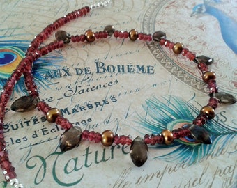 Garnet Smoky Topaz and Copper Fresh Water Pearls sterling silver necklace
