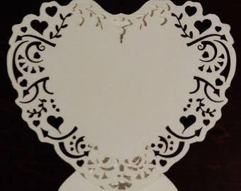 White Laser Cut Heart Place Cards- Pack of 9