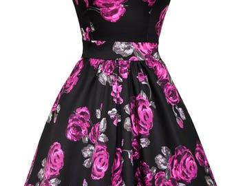 Violet and Grey Floral Vintage Dress Size 8  SALE was 60 now 40