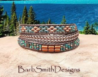 3-Wrap Copper Wrap Bracelet-Turquoise Bead-Antique Copper Chain-Boho Bracelet-Southwest-Custom Size-The Slinky One in Copper n' Celsian