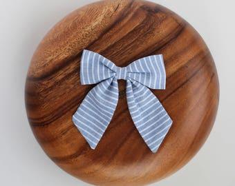Blue Striped Sailor Bow