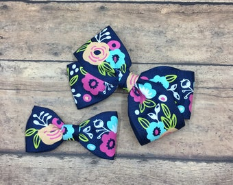 """Navy Blue Floral Bow on Elastic Headband or Clip, Large 4"""" Bow, Baby Girl Bow, Baby Gift, Toddler Bow, Grosgrain Bow, Spring Bow, Easter Bow"""