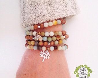 Double wrap mala bracelet - stacking amazonite bracelet - Minimalist bracelet - Layering bracelet - Meditation bracelet - Dainty bracelet