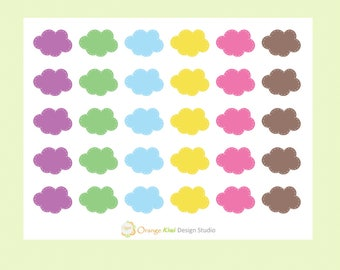 Colorful Cloud Stickers, Cloud Stickers, Planner Stickers, Clouds