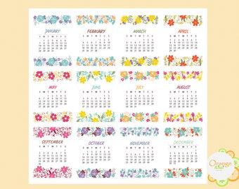 2018 Mini Calendars, Mini Calendar Stickers, 2018 Stickers, Erin Condren Life Planner
