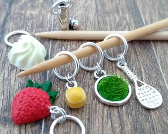 Wimbledon stitch markers - Tennis stitchmarkers -  miniature food place holders - progress markers place holder - notions tin