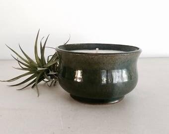 Blue Green Gardenia Scented Ceramic Candle